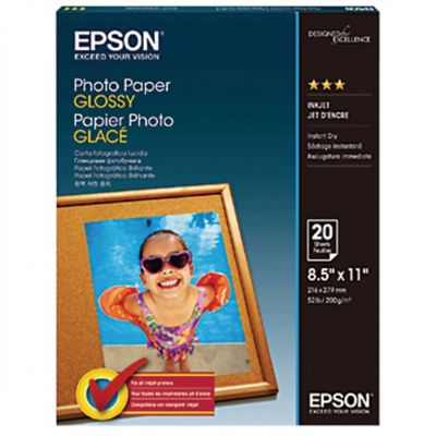 Papier photo d'Epson glacé brillance 89, lettre, paquet de 20