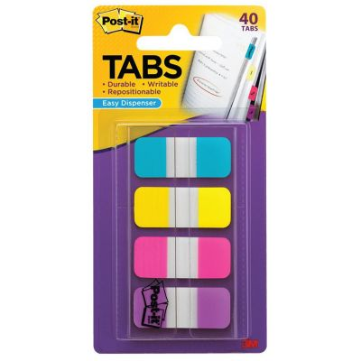 Onglets en 4 couleurs Post-it® bleu, jaune, rose et violet
